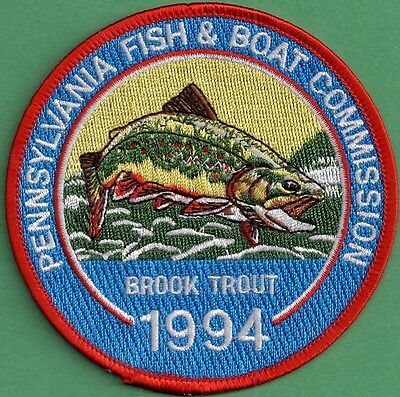 Pa Pennsylvania Fish Game Commission NEW 1994 Brook Trout Fish Trout Stamp Patch