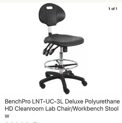 BenchPro LNT-UC-3L Deluxe Polyurethane HD Cleanroom Lab Chair/Workbench Stool w