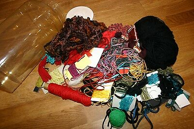 Job Lot of part used mixed embroidery/craft threads in plastic sweets jar