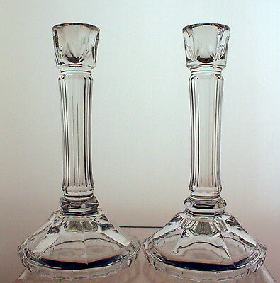 """Pair of Grecian Style 8.5"""" Tall Pressed Glass Candlesticks"""