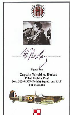 SIGNED Bookplate/Card Polish RAF World War II 303 Squadron Spitfire Pilot Herbst