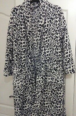 womens thick leopard print dressing gown/robe size 6/8