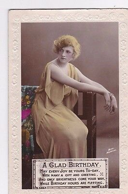 OLD POSTCARD GLAMOUR WOMAN ACTRESS GLADYS COOPER BIRTHDAY 1910s DRESS FB101