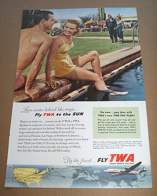 FLY TWA TO THE SUN -  1954  VINTAGE ORIGINAL ADVERT POSTER  - 11 x 7 in