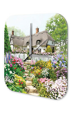 Nostalgic Wall Clock  House in spring Vintage Decoration Acrylglass