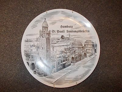 Cream Pottery Plate With Hamburg On