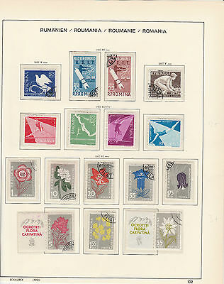 ROMANIA 1957,page from Old Schaubek Album,incl. Sports/Flowers Mtd MINT/Used