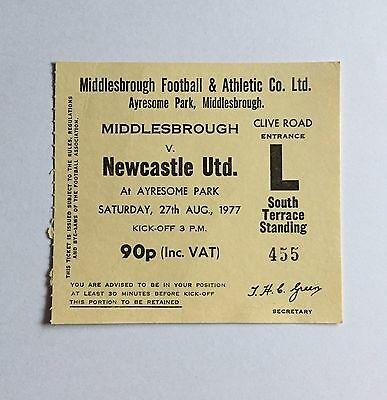 Used Ticket MIDDLESBROUGH v NEWCASTLE UNITED 27/8/1977 Ayresome Park Sth Terrace