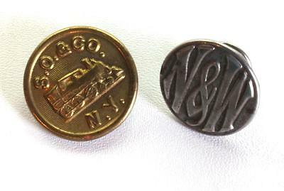 Lot of 2 Vintage Brass Railroad Rail Road Buttons S.O. & CO. NY and N&W