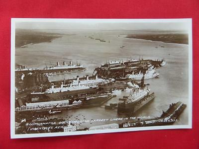 Largest Liners in the World Docked at Southampton Old Postcard - Real Photo