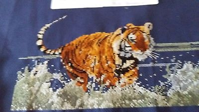 Completed Cross Stitch - Tiger Running Through River