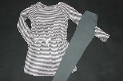 Gap Kids END OF SUMMER pink gray striped dress & leggings 6 7 S EUC