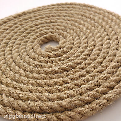 5 Metres Natural Jute Rope DIY Craft Twisted Twine Braided Cord String 6-12mm