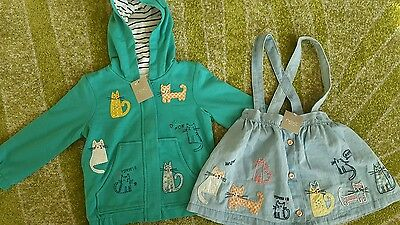 next girls Cat range hoodie and dress set bundle 1.5-2 years