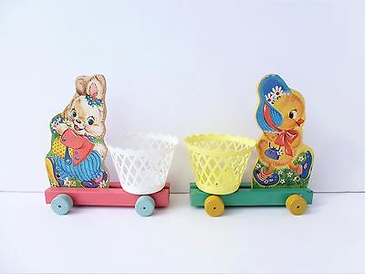 2 Vintage FISHER PRICE Wooden Pull Toys w/Plastic Baskets #303 Bunny #304 Chick