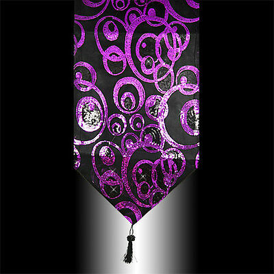 Abstract Shiny Purple Black Sequins Decorative Tassel Table Runner Cloth