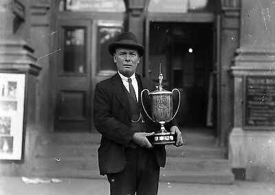 PHOTOGRAPHIC GLASS NEGATIVE ANGLING TROPHY WINNER BY NOTTINGHAM THEATRE 1920's