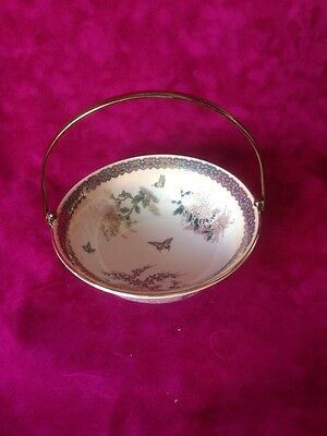 St. Michael, M&S bowl with handle. Floral w. butterflies/1989/pottery/British