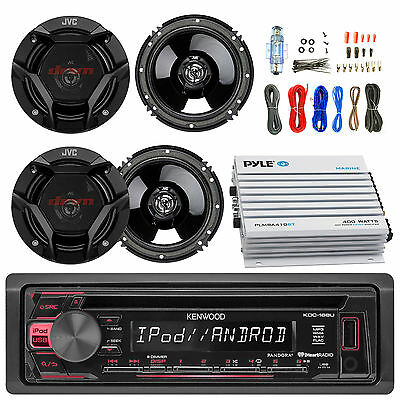"Kenwood Car CD USB Radio, 6.5"" Speakers, Bluetooth 400W 4CH Amplifier and Kit"