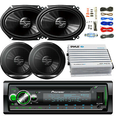 "400W Bluetooth Amplifier and Kit, Bluetooth CD USB Radio, 6.5"" and 6x8"" Speakers"