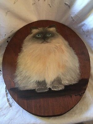 Hand Painted Himalayan Cat On Oval Shaped Wood Signed