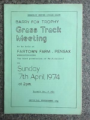 Grass track programme Worcestershire 1974