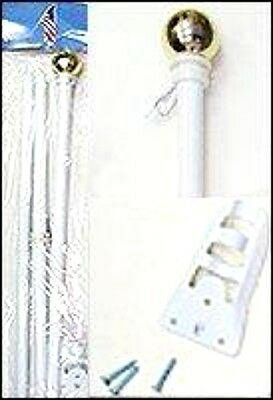 6' White Steel Flag Pole /Gold Ball With Wall Mount made in USA (1)
