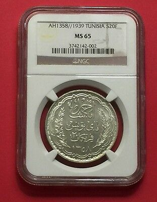 TUNISIA- UNCIRCULATED 1358//1939 SILVER 20 FRANCS NGC MS-65.ex.rare condition.