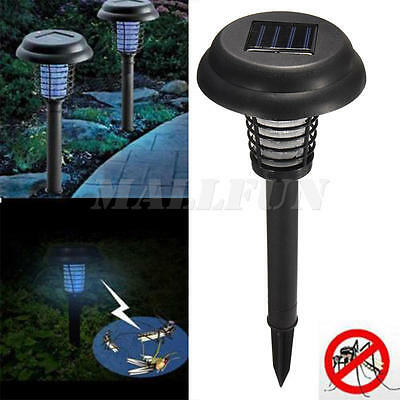 New Outdoor Solar UV Garden Lawn LED Lamp Pest Bug Zapper Insect Mosquito Killer