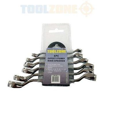 6pc Stubby Offset Ring Wrench Spanner Set 6-17mm SP129