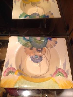 Clarice Cliff Rodanthe Square Bowl Plate. RARE. Good condition.