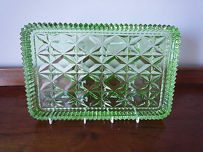 Art Deco moulded green glass dressing table tray - Sowerby?