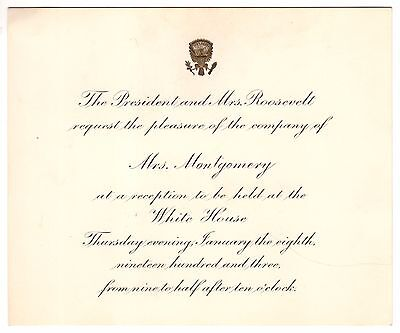 Original White House Invitation from Theodore Roosevelt to Wife of Rough Rider