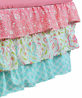 Gia Aqua Blue & Coral Pink Floral & Geometric Prints Layered Crib Dust Ruffle