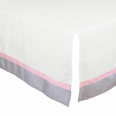 White Tailored Crib Skirt Dust Ruffle with Grey & Pink Trim by The Peanut Shell