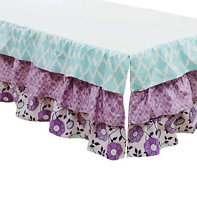 Zoe Lavender and Purple Floral and Geometric Prints Layered Crib Dust Ruffle