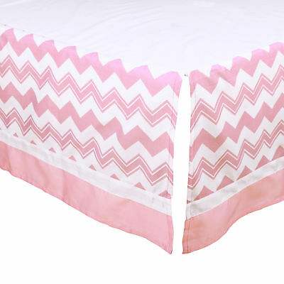 Pink Chevron Tailored Crib Dust Ruffle with White Stripe by The Peanut Shell