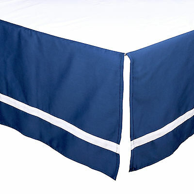 Navy Blue Tailored Crib Dust Ruffle with White Stripe by The Peanut Shell