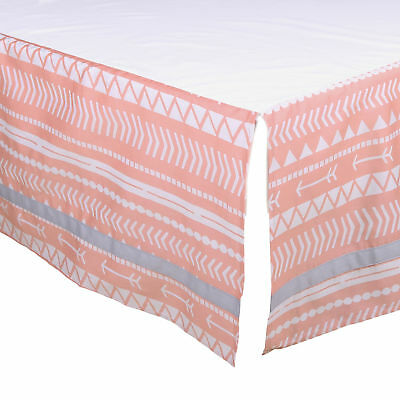 Coral Pink Tribal Tailored Crib Skirt Dust Ruffle by The Peanut Shell