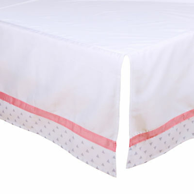 Tailored Crib Dust Ruffle with Coral and Grey Triangle Trim by The Peanut Shell