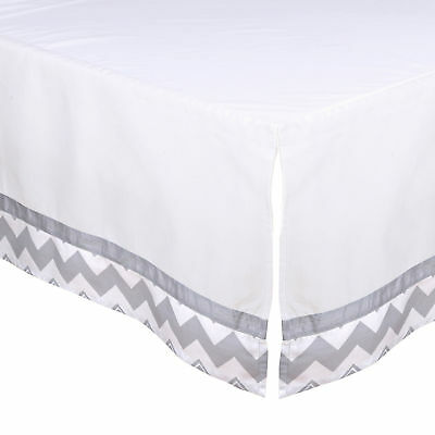 White Tailored Crib Skirt Dust Ruffle with Grey Chevron Trim by The Peanut Shell
