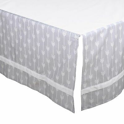 Grey Arrow Tailored Crib Dust Ruffle with White Stripe by The Peanut Shell