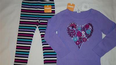 NEW Girls Size 5T 5-6 Gymboree Outfit Back To Blooms Heart Sweater & Leggings