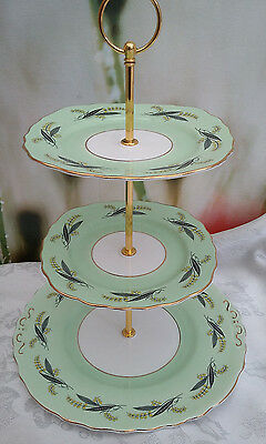 "Vintage Style Shabby Chic 3 Tier cake stand ""Green/White"" ***REDUCED TO CLEAR***"