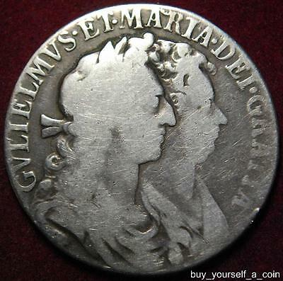 William & Mary silver halfcrown 1689 PRIMO first shield - nice!!!