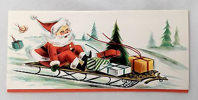 Vintage Christmas Card Cute Santa Claus Sledding Snow Presents Pine Trees