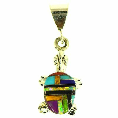 Turquoise Sugilite Lapis Onyx Opal Multigem Inlay Turtle Pendant Sterling Silver