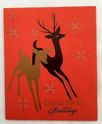 Vintage Art Deco Greeting Card Gold Deer  Snowflakes Christmas Tree Star Red EUC