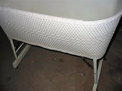 vintage wicker baby bassinet-wood-crib/basket w/mattress-nursery furniture-white