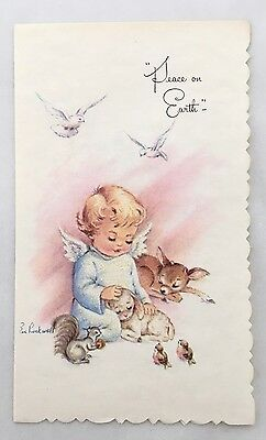 Unused Vintage Eve Rockwell Christmas Card Pretty Angel Girls Pink Wings Candles